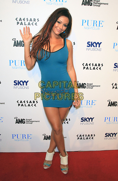 "Jenni ""JWoww"" Farley .hosts Pure nightclub inside Caesars Palace,  Las Vegas, Nevada, USA 26th August 2011..full length blue dress hand palm waving white sandals shoes ankle .CAP/ADM/MJT.© MJT/AdMedia/Capital Pictures."