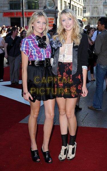 "SAMANTHA & AMANDA MARCHANT.The UK Premiere of ""The X Files - I Want To Believe"", Empire Leicester Square, London, England..July 30th, 2008 .full length samanda sam big brother twins sisters black socks sandals lace-up shoes skirt plaid shirt bow red print jacket belt peep toe .CAP/BEL.©Tom Belcher/Capital Pictures."