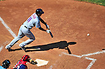 4 July 2010: New York Mets infielder Ruben Tejada lays down a bunt (foul) against the Washington Nationals at Nationals Park in Washington, DC. The Mets defeated the Nationals 9-5, splitting their 4-game series. Mandatory Credit: Ed Wolfstein Photo