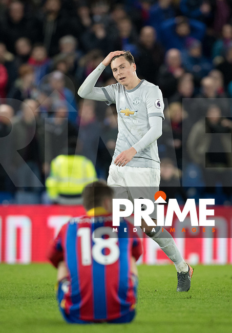 Victor Lindelof of Man Utd at full time during the Premier League match between Crystal Palace and Manchester United at Selhurst Park, London, England on 5 March 2018. Photo by Andy Rowland.