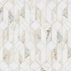 Madison, a hand-cut stone mosaic, show in polished Calacatta Gold.