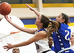 SEYMOUR CT. - 17 January 2020-011720SV12-#30 Arlinda Peraj of Seymour High puts up a shot as #20 Glorines Rivera of Crosby defends during basketball action in Seymour Friday.<br /> Steven Valenti Republican-American