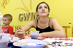 WATERBURY CT. 14 August 2017-081417SV07-Jessica Gould, 13, of Waterbury enjoys an art class during Kids Club at Greater Waterbury Interfaith Ministries in Waterbury Monday. <br /> Steven Valenti Republican-American