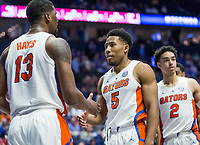 NWA Democrat-Gazette/BEN GOFF @NWABENGOFF<br /> KeVaughn Allen, Florida guard, celebrates with Kevarrius Hayes, Florida center, in the second half vs Arkansas Thursday, March 14, 2019, during the second round game in the SEC Tournament at Bridgestone Arena in Nashville.