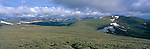 Panoramic view of Tundra Curves & Lava Cliffs on Trail Ridge, Rocky Mtn Nat'l Park, CO