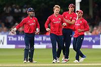 Simon Harmer of Essex completes the run out of Brendan Taylor and is congratulated by his team mates during Essex Eagles vs Notts Outlaws, Royal London One-Day Cup Semi-Final Cricket at The Cloudfm County Ground on 16th June 2017