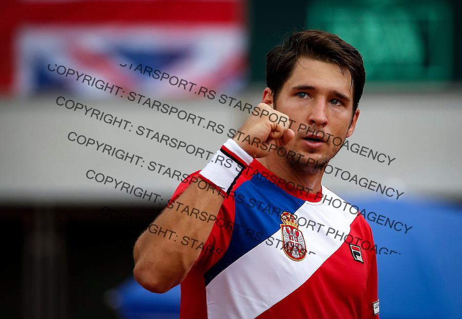 Davis Cup 2016 Quarter Final<br /> Srbija v Velika Britanija<br /> Dusan Lajovic SRB v James Ward GBR<br /> Dusan Lajovic<br /> Beograd, 16.07.2016.<br /> Foto: Srdjan Stevanovic/Starsportphoto.com&copy;