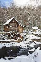 67395-04406 Glade Creek Grist Mill in winter, Babcock State Park, WV