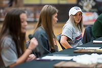 NWA Democrat-Gazette/BEN GOFF @NWABENGOFF<br /> Carrie Kotoucek (from left), Brianna Willis and Taylor Muff, Bentonville soccer players, thank their family and coaches Wednesday, Feb. 6, 2019, during a signing ceremony at Bentonville's Tiger Arena.