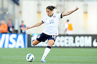 US Women's National midfielder Carli Lloyd (10) in action during the International Friendly soccer match between the USA Women's National team and the Korea Republic Women's Team held at Gillette Stadium in Foxborough Massachusetts.   Eric Canha/CSM