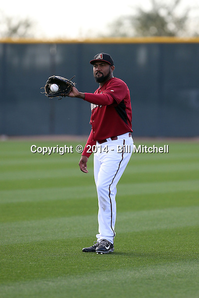 Marcos Mateo of the Arizona Diamondbacks participates in the first day of spring training workouts at Salt River Fields on February 7, 2014 in Scottsdale, Arizona (Bill Mitchell)
