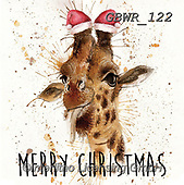 Simon, CHRISTMAS ANIMALS, WEIHNACHTEN TIERE, NAVIDAD ANIMALES, paintings+++++Card_KatherineW_SplatterChristmasGiraffe,GBWR122,#xa#,giraffe