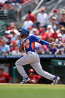 New York Mets infielder Juan Lagares (12) during a Spring Training game against the St. Louis Cardinals on April 2, 2015 at Roger Dean Stadium in Jupiter, Florida.  The game ended in a 0-0 tie.  (Mike Janes/Four Seam Images)