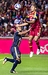 Real Salt Lake forward ?lvaro Sabor?o (15) protects the ball against Philadelphia Union defender Ethan White (15) in the second half Saturday, March 14, 2015, during the Major League Soccer game at Rio Tiinto Stadium in Sandy, Utah. (© 2015 Douglas C. Pizac)