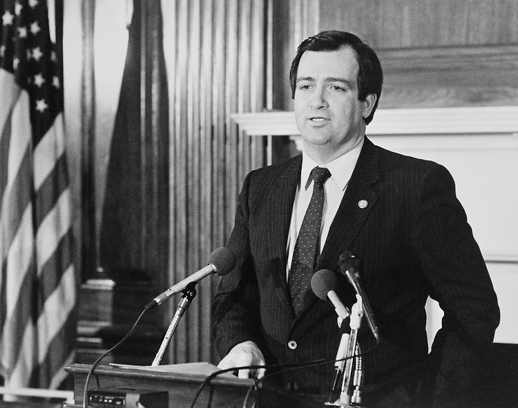 Rep. Terry Lee Bruce, D-Ill., House of Representatives Member, talking at press conference. 1985 (Photo by CQ Roll Call)