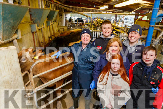 Jerimiah Daly Counguilla Scartaglen with his family who is now milking only once a day l-r: Jerimiah, Donnacha, Bryan, Maria Maire and Diarmuid