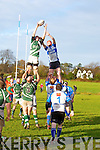 Tralee's Ronan O'Sullivan and Kanturk's Calvin Noonan get up for the ball in the Munster Junior Shield at O'Dowd park, Tralee on Sunday.