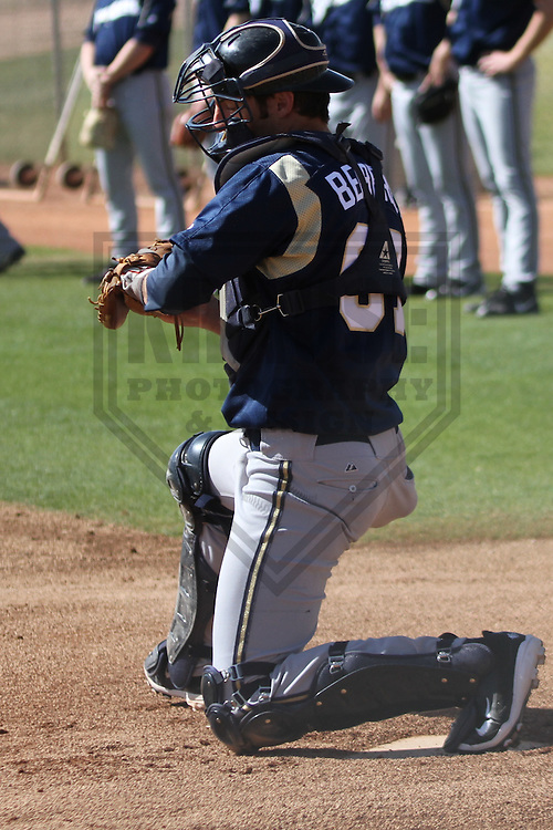 MARYVALE - March 2014: Parker Berberet of the Milwaukee Brewers during a spring training workout on March 18th, 2014 at Maryvale Baseball Park in Maryvale, Arizona.  (Photo Credit: Brad Krause)