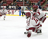 Sean Malone (Harvard - 17), Luke Esposito (Harvard - 9) - The Harvard University Crimson defeated the Yale University Bulldogs 6-4 in the opening game of their ECAC quarterfinal series on Friday, March 10, 2017, at Bright-Landry Hockey Center in Boston, Massachusetts.
