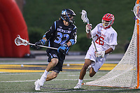 College Park, MD - April 29, 2017: Johns Hopkins Blue Jays Shack Stanwick (32) runs with the ball during game between John Hopkins and Maryland at  Capital One Field at Maryland Stadium in College Park, MD.  (Photo by Elliott Brown/Media Images International)