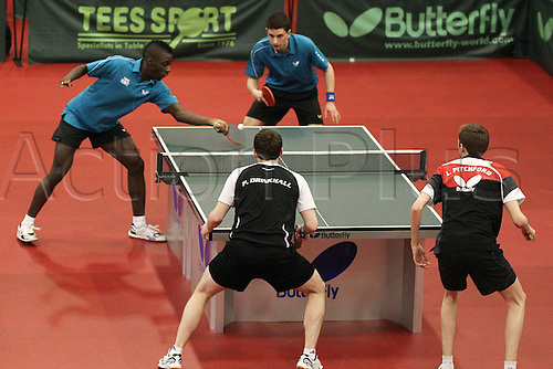 03.03.2013 Sheffield, England.  Paul Drinkhall & Liam Pitchford with Darius Knight & Daniel Reedwith contest the mens doubles final of the English National Table Tennis Championships from the Ponds Forge International Sports Centre. Drinkhall & Pitchford win the title