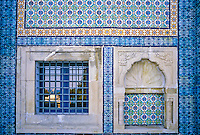 Ceramics, Gammarth, Tunisia.  Nabeul Tiles Decorating Front of Tunisian Home.