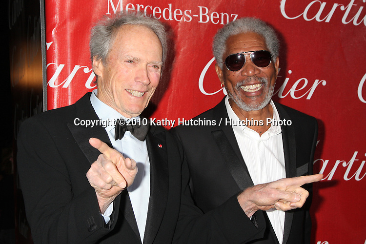 Clint Eastwood & Morgan Freeman.arriving at the 2010 Palm Springs Film Festival Awards Gala.Palm Springs Convention Center.January 5, 2010.©2010 Kathy Hutchins / Hutchins Photo.