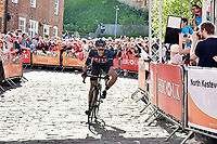 Picture by Allan McKenzie/SWpix.com - 14/05/2017 - Cycling - HSBC UK British Cycling Spring Cup Series  - Lincoln Grand Prix 2017 -<br /> JLT Condor Ian Bibby solos to the win in front of Lincoln Cathedral