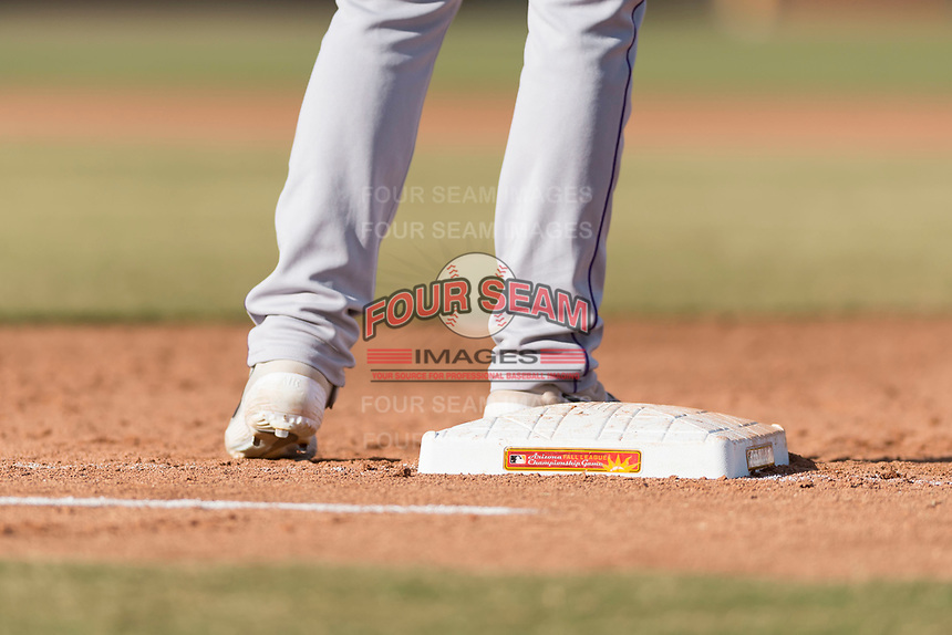 Salt River Rafters first baseman Tyler Nevin (2), of the Colorado Rockies organization, stands on first base during the Arizona Fall League Championship Game against the Peoria Javelinas at Scottsdale Stadium on November 17, 2018 in Scottsdale, Arizona. Peoria defeated Salt River 3-2 in 10 innings. (Zachary Lucy/Four Seam Images)