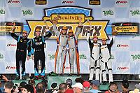 #46 Team TGM, Mercedes-AMG, GS: Hugh Plumb, Owen Trinkler, #69 Motorsports In Action, McLaren GT4, GS: Corey Fergus, Jesse Lazare, #71 Rebel Rock Racing, Chevrolet Camaro GT4.R, GS: Robin Liddell, Andrew Davis celebrate the win in victory lane