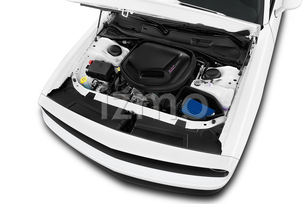 Car stock 2017 Dodge Challenger SRT 3 Door Coupe engine high angle detail view