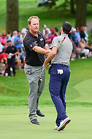 Charley Hoffman (USA) and Adam Hadwin (CAN) shake hands following Sunday's final round of the World Golf Championships - Bridgestone Invitational, at the Firestone Country Club, Akron, Ohio. 8/6/2017.<br /> Picture: Golffile | Ken Murray<br /> <br /> <br /> All photo usage must carry mandatory copyright credit (&copy; Golffile | Ken Murray)