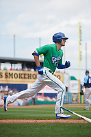 Hartford Yard Goats right fielder Sam Hilliard (25) runs to first base during a game against the Trenton Thunder on August 26, 2018 at Dunkin' Donuts Park in Hartford, Connecticut.  Trenton defeated Hartford 8-3.  (Mike Janes/Four Seam Images)