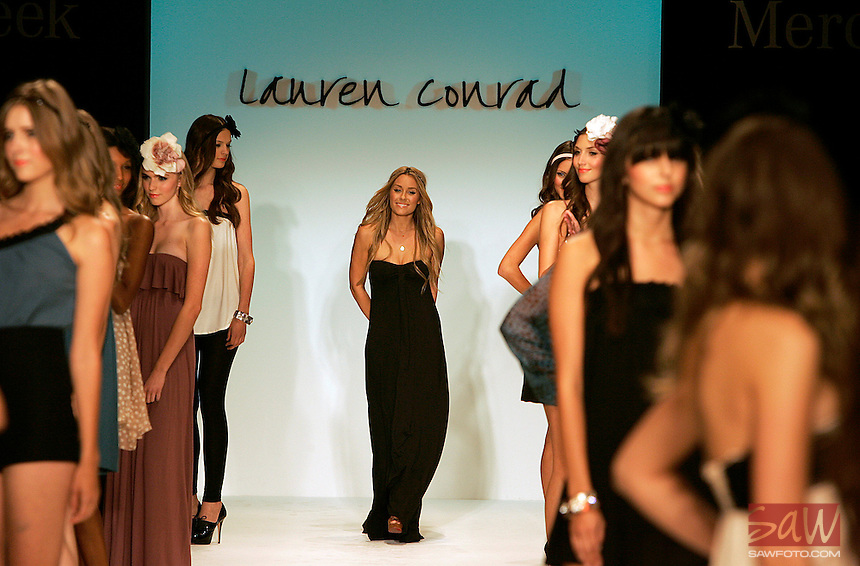 LOS ANGELES,CA - OCTOBER 14,2008: Lauren Conrad makes an appearance after showing of The Lauren Conrad Collection on at Spring 2009 shows at LA Fashion Week, October 14, 2008.