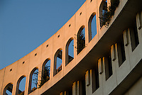 Detail of the curve of a sandstone building in Montpellier's New Town, at sunset, October 7 2008