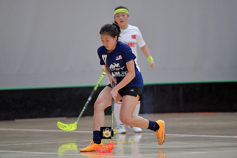 Malaysia's Alexandra Esien in action during the World Floorball Championships 2017 Qualification for Asia Oceania Region - Malaysia v China at ASB Sports Centre , Wellington, New Zealand on Sunday 5 February 2017.<br /> Photo by Masanori Udagawa<br /> www.photowellington.photoshelter.com.