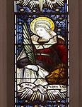 Mary Anne Garrett Memorial stained glass window  female martyrs 1897, Church of Saint Margaret, Leiston, Suffolk, England, UK Saint Prisca by C.E. Kempe ( 1837-1907)