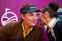 HAIKOU, CHINA - OCTOBER 28:  Hollywood actor Matthew McConaughey (L) and Oscar-winning actress Catherine Zeta-Jones laugh during a press conference as part of the Mission Hills Star Trophy on October 28, 2010 in Haikou, China. The Mission Hills Star Trophy is Asia's leading leisure liflestyle event and features Hollywood celebrities and international golf stars.  Photo by Victor Fraile / studioEAST