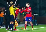 S&ouml;dert&auml;lje 2014-11-09 Fotboll Kval till Superettan Assyriska FF - &Ouml;rgryte IS :  <br /> &Ouml;rgrytes Nicolas Sandberg byts ut i den andra halvleken av matchen mellan Assyriska FF och &Ouml;rgryte IS mot &Ouml;rgrytes Frantz Pangop <br /> (Foto: Kenta J&ouml;nsson) Nyckelord:  S&ouml;dert&auml;lje Fotbollsarena Kval Superettan Assyriska AFF &Ouml;rgryte &Ouml;IS