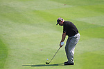 Darren Clarke playing his third shot onto the 18th greenon day two of the Celtic Manor wales Open 2010.Picture Fran Caffrey/Newsfile.ie