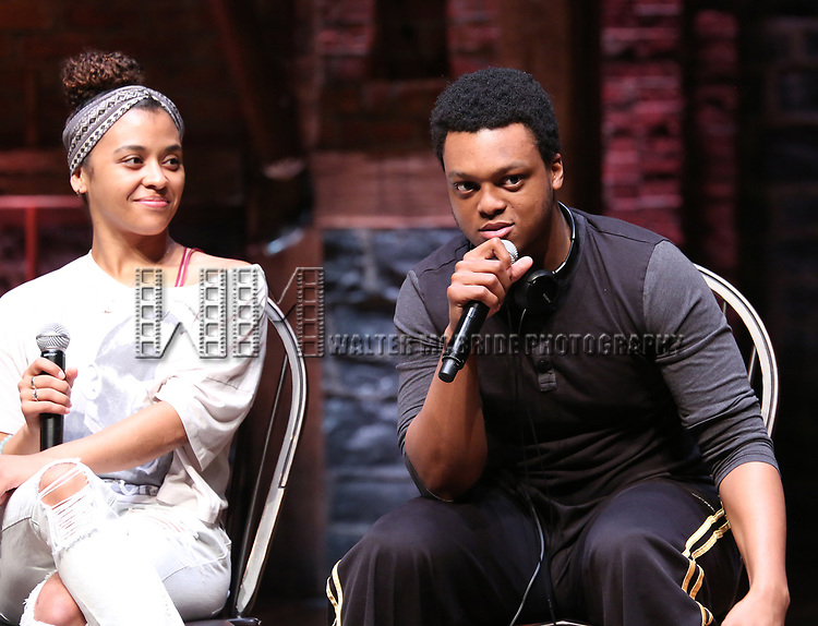 """Sasha Hollinger and J. Quinton Johnson from the 'Hamilton' cast during a Q & A before The Rockefeller Foundation and The Gilder Lehrman Institute of American History sponsored High School student #EduHam matinee performance of """"Hamilton"""" at the Richard Rodgers Theatre on May 24, 2017 in New York City."""