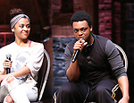 "Sasha Hollinger and J. Quinton Johnson from the 'Hamilton' cast during a Q & A before The Rockefeller Foundation and The Gilder Lehrman Institute of American History sponsored High School student #EduHam matinee performance of ""Hamilton"" at the Richard Rodgers Theatre on May 24, 2017 in New York City."