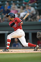 Center fielder Lorenzo Cedrola (5) of the Greenville Drive bats in game two of a doubleheader against the Rome Braves on Tuesday, May 30, 2017, at Fluor Field at the West End in Greenville, South Carolina. Rome won, 10-7. (Tom Priddy/Four Seam Images)