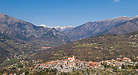 View of the small mountain village of La Bollene Vesubie, Alpes-Marines, France