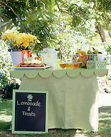 An outdoor table set under the trees for a children's party with muffins, jelly and lemonade