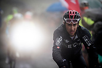 Sebastián Henao (COL/INEOS) up the extremely wet, cold & misty Cole di Mortirolo <br /> <br /> Stage 16: Lovere to Ponte di Legno (194km)<br /> 102nd Giro d'Italia 2019<br /> <br /> ©kramon