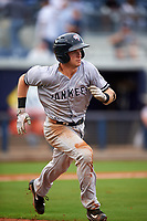 Tampa Yankees second baseman Nick Solak (39) runs to first base during the first game of a doubleheader against the Charlotte Stone Crabs on July 18, 2017 at Charlotte Sports Park in Port Charlotte, Florida.  Charlotte defeated Tampa 7-0 in a game that was originally started on June 29th but called to inclement weather.  (Mike Janes/Four Seam Images)
