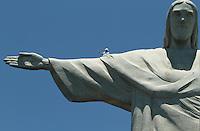 RIO DE JANEIRO, RJ, 21.01.2014 - REPARO CRISTO REDENTOR - Funcionários que estão reparando os danos causados pelo raio que atingiu o monumento do Cristo Redentor são vistos no braço do monumento para iniciar os trabalhos nessa terça 21. (Foto: Levy Ribeiro / Brazil Photo Press)