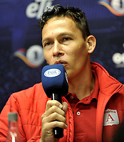 BOGOTÁ - COLOMBIA, 10-01–2019: Vladimir Galindo, preparador físico de América de Cali, durante rueda de prensa del Torneo Fox Sports 2019, en el estadio Nemesio Camacho El Campin de la ciudad de Bogotá. / Vladimir Galindo, physical trainer of America de Cali, during a press conference at the Fox Sports 2019 Tournament, at the Nemesio Camacho El Campin stadium in the city of Bogota. Photo: VizzorImage / Luis Ramírez / Staff.