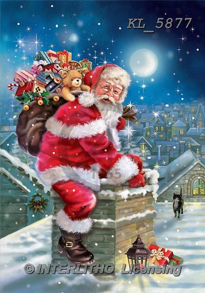 Interlitho, Simonetta, CHRISTMAS SANTA, SNOWMAN, paintings, santa, sack, chimney, KL5877,#X# Weihnachtsmänner, Papá Noel, Weihnachten, Navidad, illustrations, pinturas klassisch, clásico